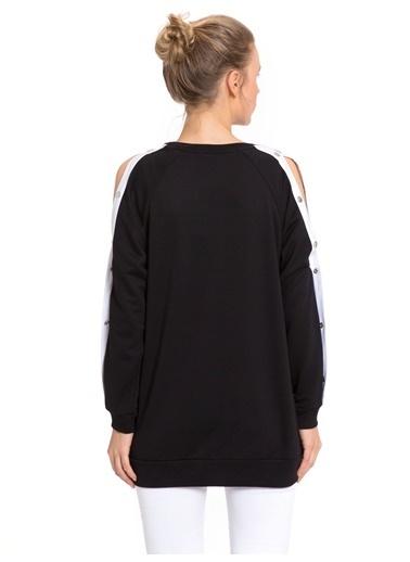 LC Waikiki Kolları Çıt Çıt Detaylı Sweatshirt Siyah